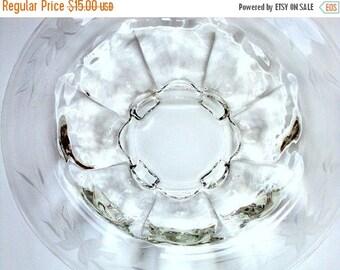 VALENTINES SALE Vintage Glass Bowl, cr. 1950, Large Molded, Etched Rim, concave panels, estate collection
