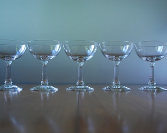 Set of Five - Libbey Rocke Sharpe  -  Champagne/ Coupe Glasses - pattern 3002 - fluted column stem - 1950's - Neoclassical - Midcentury
