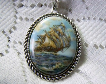 Windjammer Jewelry, Full Sail Clipper Ship, Nautical Schooner, Tall Ship Necklace, Nautical Jewelry, Sailing, Sailor jewelry, Pirate Ship