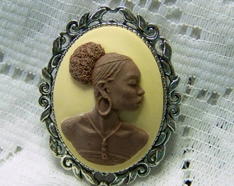 African Lady Cameo Brooch, New Afrikan Woman Pendant, Afro-American, Africa, Afrikan, Brown & Ivory, Malcom X, MLK African American Pin