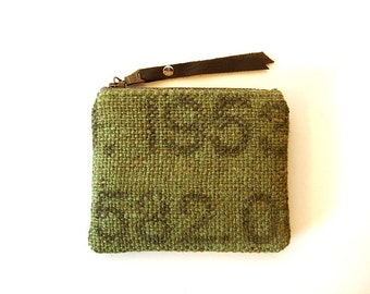 Military Burlap and Camouflage Zipper Small Coin Purse