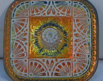 Quilt Square Czech Glass Button