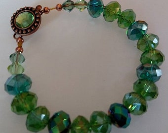 Cystals Bracelet Emerald Green Rose Gold and Copper latch with Emerald Green Glass