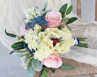 Nautical Rose Quartz Pink and Serenity Blue Silk Flower Wedding Bouquet