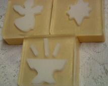 sale:  CHRISTMAS NATIVITY SET Soap, Glycerin Soap, Angel Soap, Star Soap, Manger Soap, Christmas Gift Set Soap, Religious Soap, Holiday Soap