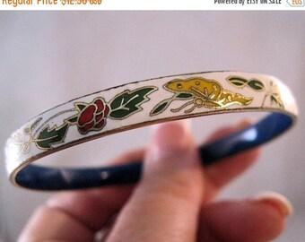 15% OFF SALE Vintage Cloisonne Butterfly Flower Bangle Bracelet White Yellow Red Green Enamel Costume Jewelry Jewellery