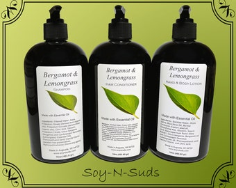 BERGAMOT LEMONGRASS, Hair Conditioner, Shampoo, Lotion, Essential Oil,  VEGAN, Paraben Free, Homemade, Natural, 8oz, 16oz, Black Pump