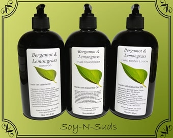 BERGAMOT LEMONGRASS, Conditioner, Liquid, Shampoo, Lotion, Essential Oil,  VEGAN, Paraben Free, Homemade, Natural, 8oz, 16oz, Black Pump