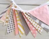 Bunting Banner, Girl Nursery Decor, Birthday Decoration, Gold Wedding, Glitz, Shimmer - Gold,Blush Pink,White, Gray, Chevron,Dots