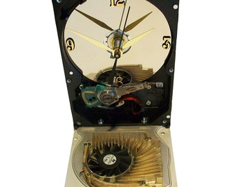 Hard Drive Clock with Unusual Graphics Circuit Board Fan on the Base. Unique Clock.