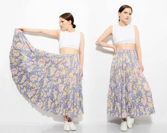 Vintage 90s Pale Blue Floral Cotton Skirt High Waist Romantic Boho Grunge Tiered SUPER Full Maxi Skirt Small XS S