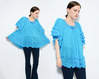 Vintage 70s COTTON GAUZE Top Turquoise Blue Angel Sleeve Shirt Sheer Crochet Boho Hippie Indian Blouse Small Medium S M