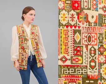 Vintage 60s 70s Chenille Carpet Tapestry Vest Ethnic Mosaic Boho Hippie Long Jacket  Small Medium S M