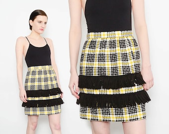 70s Checkered Plaid Mini Skirt Cotton Tweed High Waist 1970s Mod Hippie Fringe Fitted Skirt White Black Yellow Small S