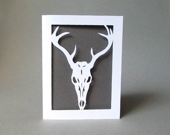 Deer Skull Card - Nature Anatomy Greeting Card Cut Paper Art White
