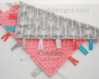 Personalized Lovey Baby Tag Blanket - Coral Minky with Gray Arrow Minky