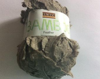 SWTC Bamboo Feather #240 Taupe Brown-Grey Short Eyelash Fringe Boa Eco-friendly Yarn 88% Bamboo 50 gram 110 yards