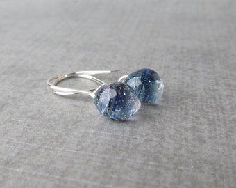 Indigo Sparkle Small Dangles, Blue Sparkle Earrings, Blue Earrings Small, Silver Wire Earrings, Small Earrings, Sterling Silver Earrings