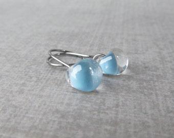 Small Baby Blue Dangle Earrings, Lampwork Glass Blue Earrings, Small Everyday Earrings, Dark Wire Earrings, Oxidized Sterling Silver Earring