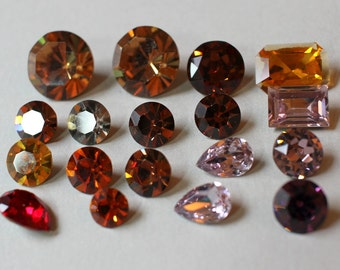 Mixed Vintage Swarovski Lot Large Chatons Rectangle Octagon Pear Mixed Sizes Harvest Fall Colors (18)