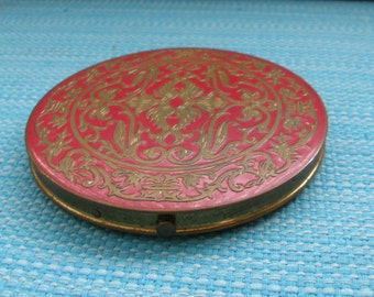 Vintage 1940's Rex Fifth Avenue Red and Gold Tone Embossed Art Deco Powder Compact