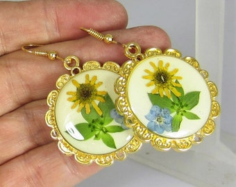 Sunshine and Flowers,  Real Flowers Earrings,  Pressed Flower Jewelry, Resin (1913)