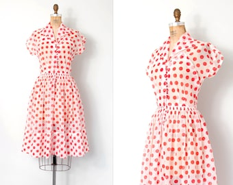 vintage 1950s dress / red and white polka dot 50s dress / Delightfully Dotty