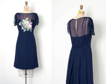 vintage 1930s dress / navy blue silk chiffon floral sequin 30s dress / Fashion Originators Guild