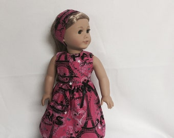 American Doll Girls Clothes or Most Other 18 Inch Dolls, Dreaming of Paris, Paris Forever Hot Pink Paris Dress