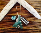 Deep Turquoise Water Charm Necklace
