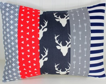 Pillow Cover, Woodland Nursery Decor, Nursery Pillow, 12 x 16 Inches, Navy Blue, Grey, Gray, Red, Deer, Arrows, Tribal, Buck, Stag