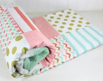 Baby Girl Blanket, Minky Blanket, Crib Blanket, Coral Pink, Blush Pink, Mint Green, Gold, Aztec Nursery, Tribal Nursery, Triangles