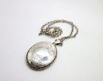Locket and Chain Vintage English Sterling Silver Floral Etched Great Gift