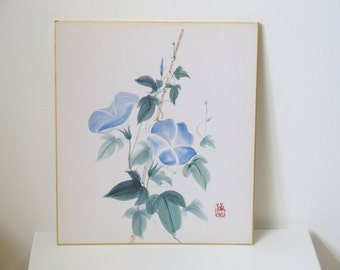 Vintage Japanese Shikishi Painting With Blue Flower Motif