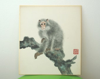 Japanese Macaque Painting Vintage Shikishi Home Decor