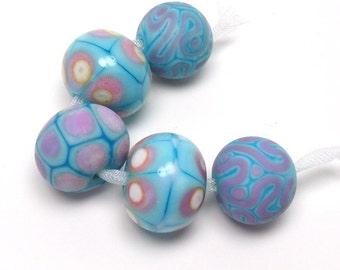 Turquoise lampwork beads, pink, lavender, cream, blue beads, 5 lampwork beads, stringer detail, loose glass beads, handmade glass beads