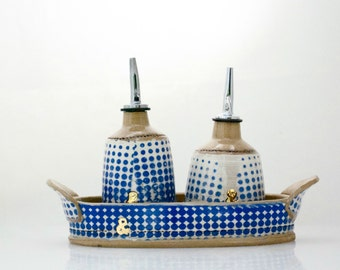 Oil and vinegar  set - mothers day gifts gift - unique wedding gift - Olive oil cruet gift set - Ceramic olive oil - Housewarming gift