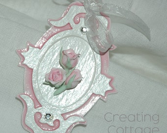 Soft Pink Gift Tag Ornament Cottage Style Handmade Rose on Glittered extra thick painted and glazed die cut shape