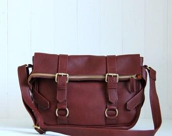 Brown leather satchel / Leather Messenger Bag / Women Messenger Bag / Brown shoulder bag