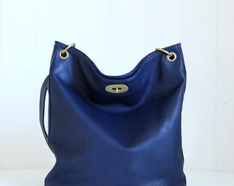 Navy leather shoulder bag / Crossbody leather bag