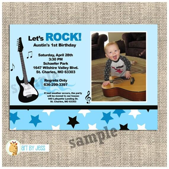 Rock star photo birthday invitation guitar birthday invitations il570xn filmwisefo