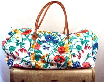 Vintage 80s Floral Gym Tote Weekend Bag