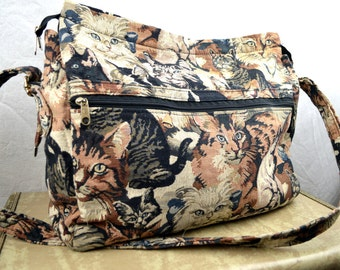 Vintage 90s Kitty Cat Tote Bag Purse