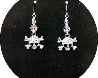 Skull Earrings Sugar Skull, Rhinestone Skull Earrings Cinco de Mayo Rhinestone Skull Crystal Skull Earrings, Biker Earrings, Day of the Dead