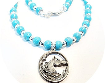 Horse Pendant, Horse Necklace, Equestrian Jewelry, Turquoise Beads, Horse Show Jewelry, Turquoise Silver, Pendant Necklace