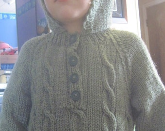 Custom Made (hand knit) Hoodie Sweater made just for you. You tell me size and color. Sizes 1-6T