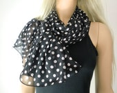 Black and white and white Polka dot scarf- Long chiffon scarf -Parisian Neck Tissu-Black and white scarves