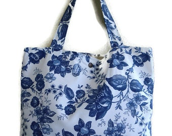 French Floral Blue canvas tote bag with ink blue floral- book bag,Lined carry all tote bag