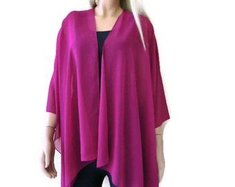 Magenta Boho Kimono/ Kimono cardigan-Solid magenta/dark fuchsia Lagenlook chiffon kimono- Great for weddings and bridesmaids