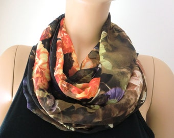 Winter roses  chiffon infinity scarf Dark brown orangy red and green Necklace Scarf/cowl-Instant gratification-Extra full